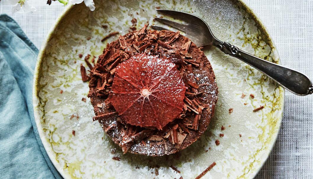 Recept på chokladpaj med marinerad blodapelsin