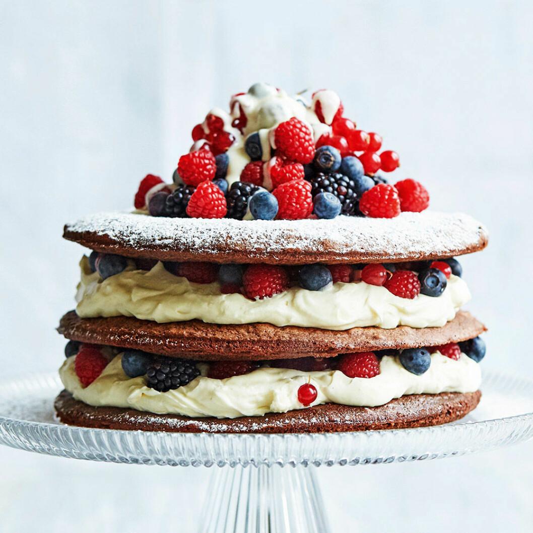 Chokladtårta med bär och vit chokladmousse.