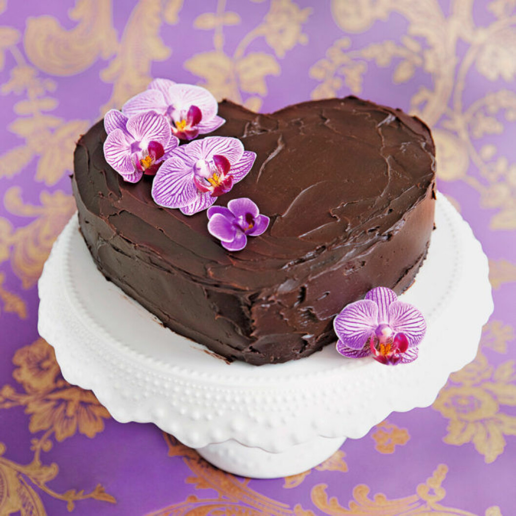 Hjärtformad chokladtårta. Foto: Ulrika Ekblom
