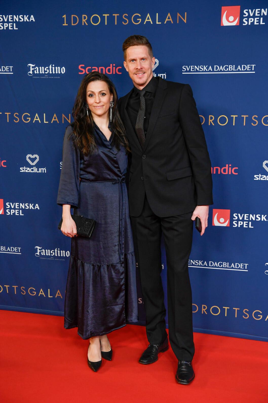 Christian Olsson och Gordana Bosanac på röda mattan på Idrottsgalan 2020