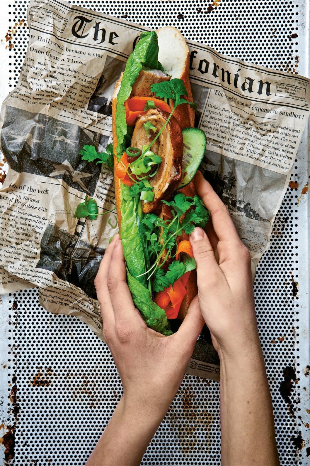 Fusion sandwich med fläsksida, chipotle och koriander