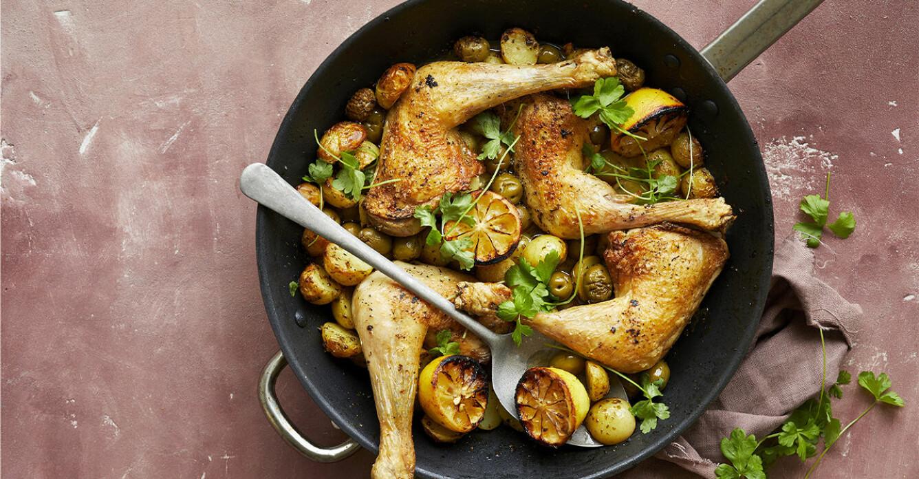 Recept på citronkyckling med potatis och oliver