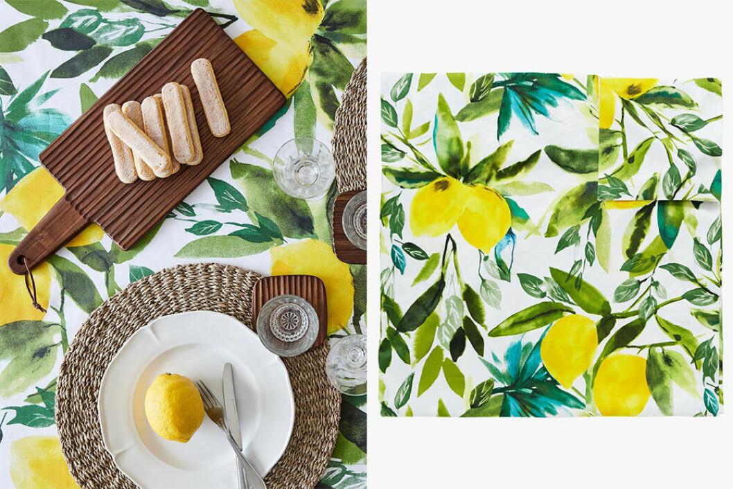 duk med citronmönster