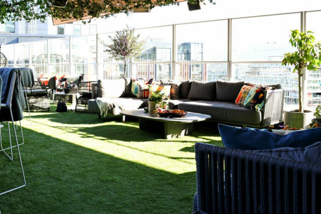 Clarin Hotel Signs takterrass Rooftop Garden Bar är en grönskande oas.