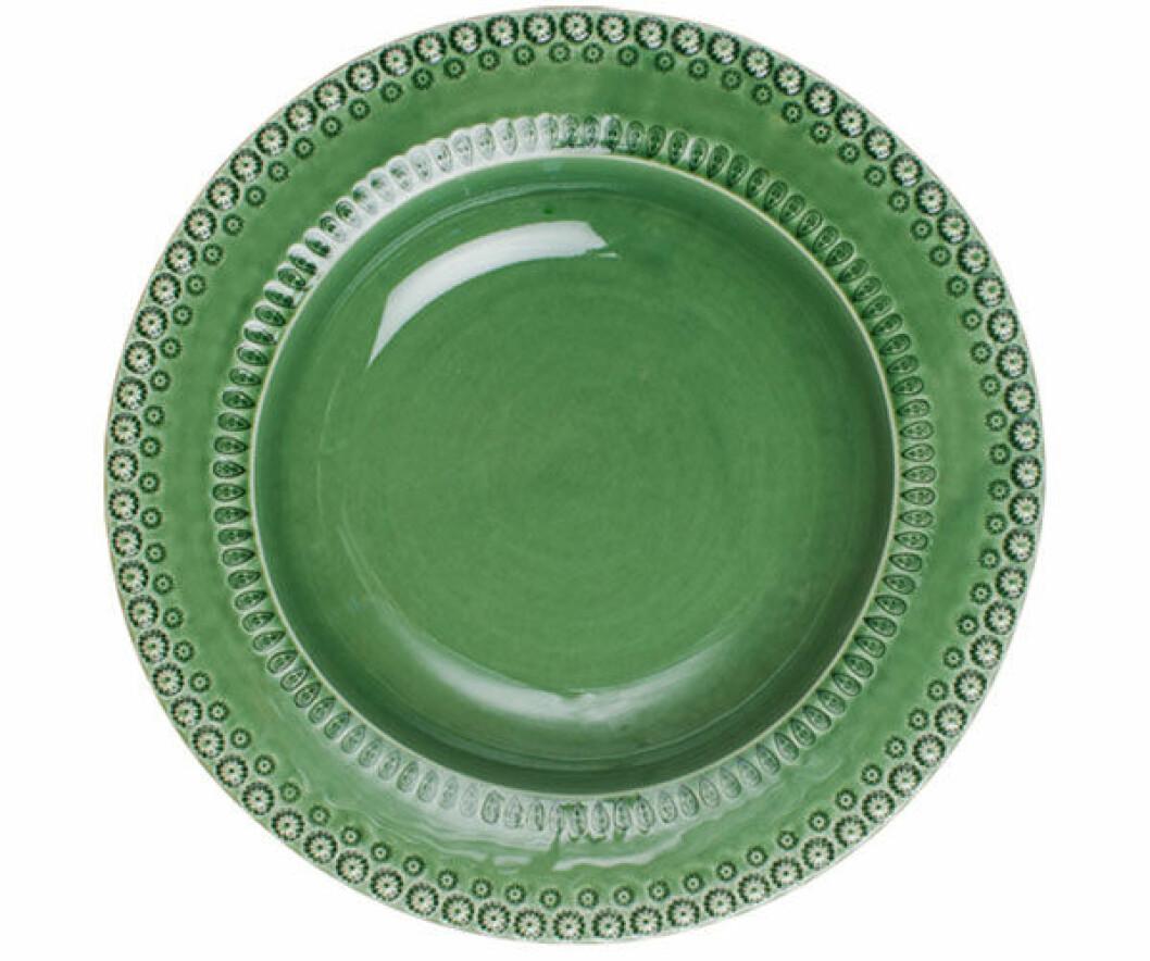 Vackert grönt uppläggningsfat från Pottery Jo.