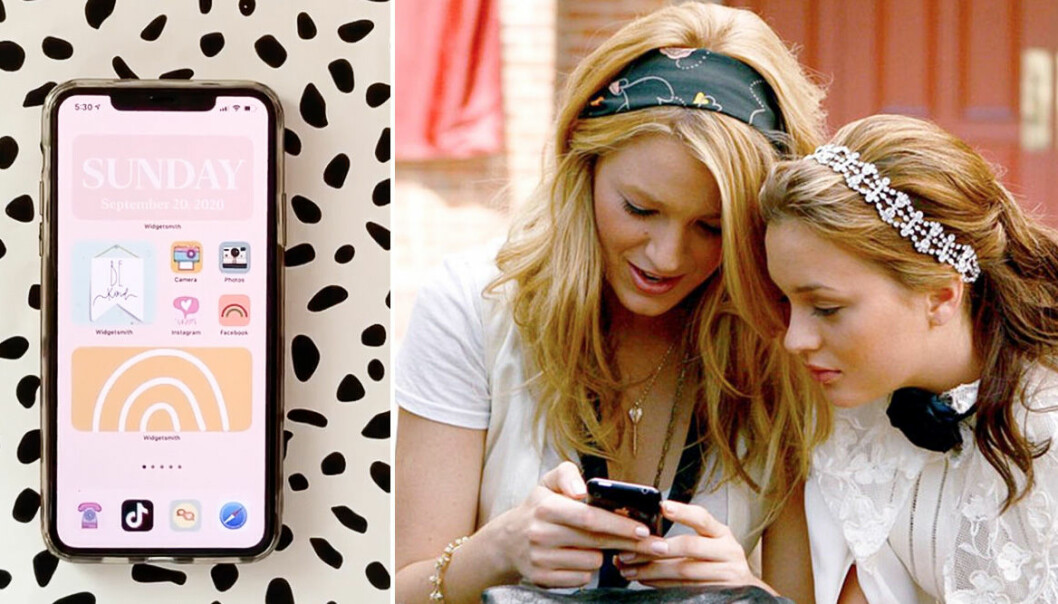 Blake Lively kolla telefonen och bild på snygg skärm