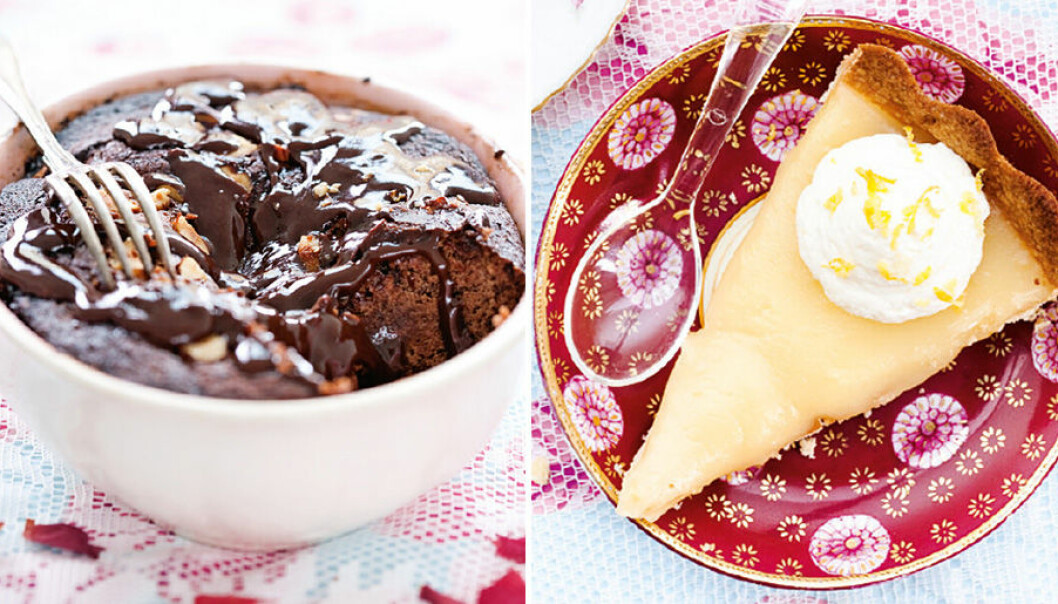 Kladdig chokladkaka och sötsyrlig paj.