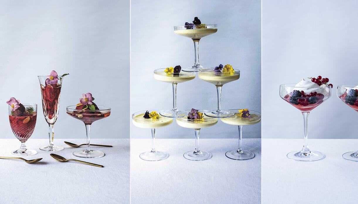 desserter med champagne, prosecco, cava