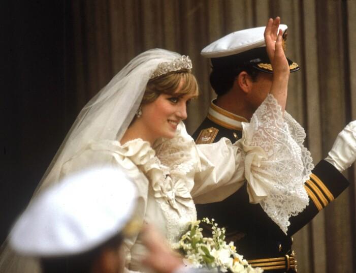 Diana vid bröllopet med Charles 1981