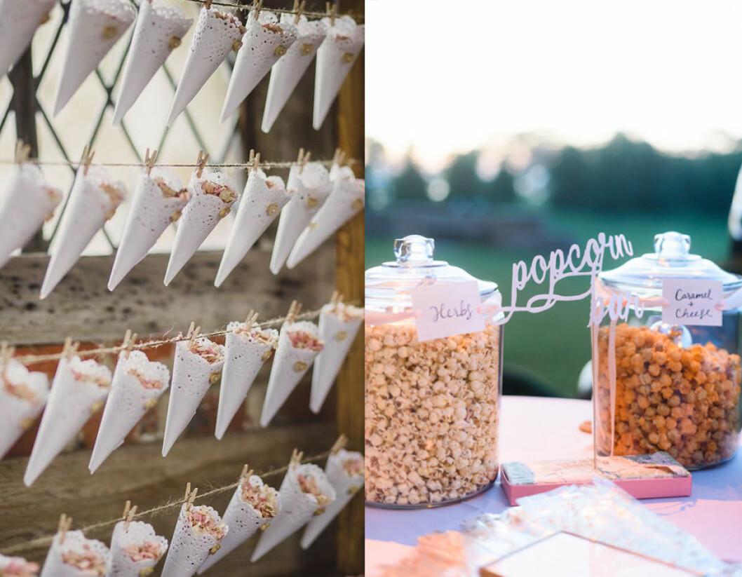 Popcornstrutar till bröllop.