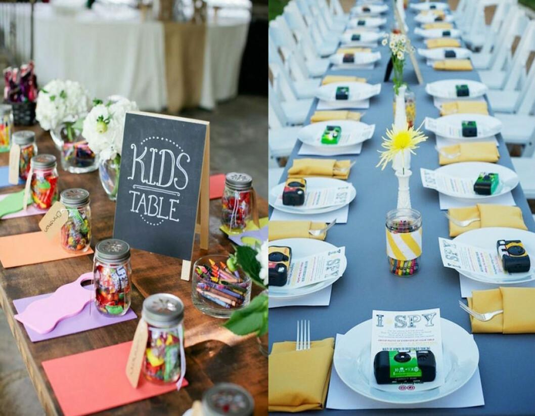 Gör ett roligt barnbord till bröllop.