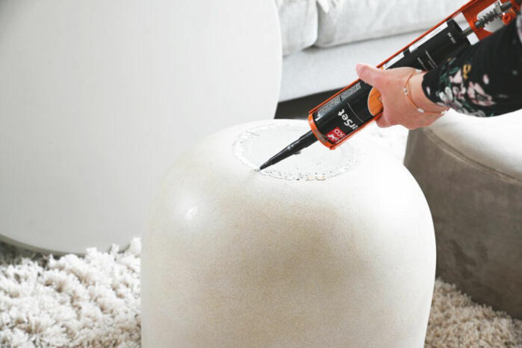 DIY: Stilrent soffbord av en betongkruka, steg 2