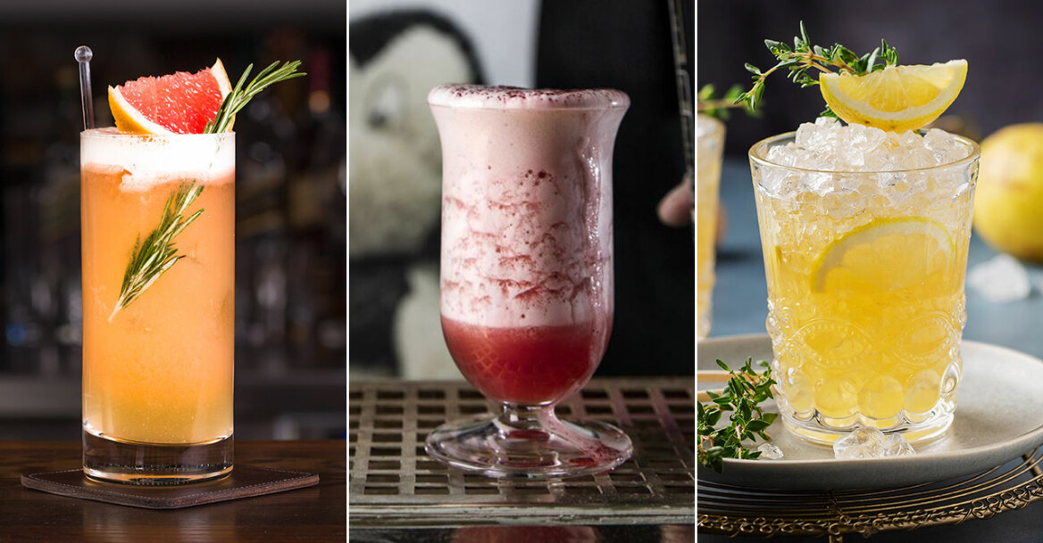 Oragne drink med grapefrukt, rosa drink med skum och gul drink med is och citron