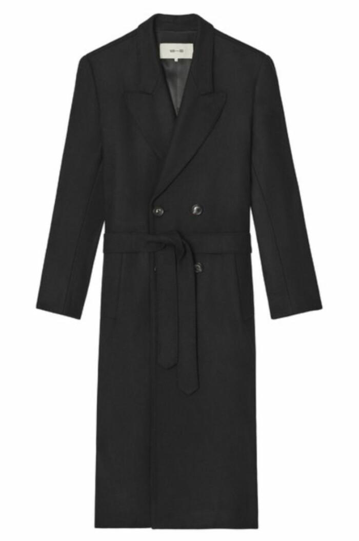Dubbelknäppt kappa från Whyred i rak modell med avtagbart bälte i midjan.