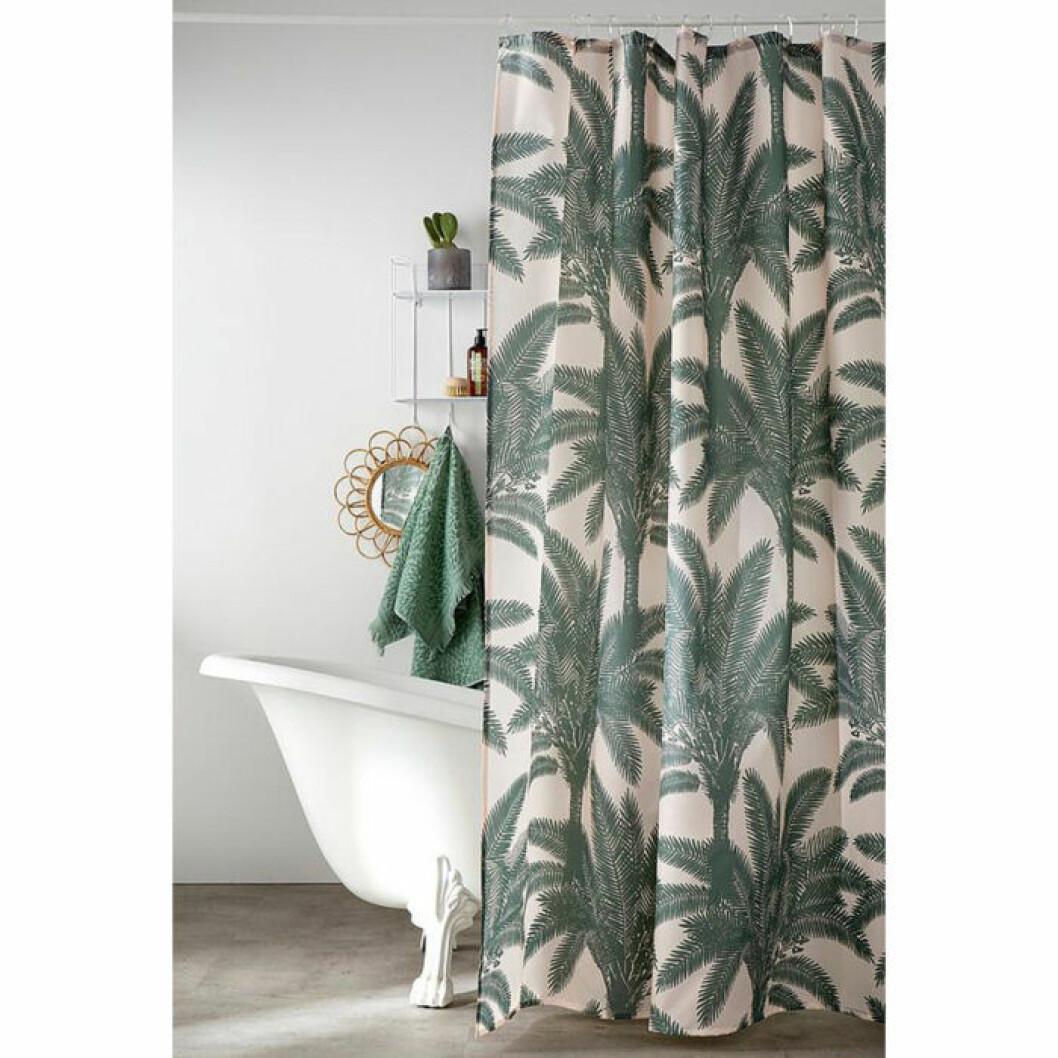 duschdraperi med palmer