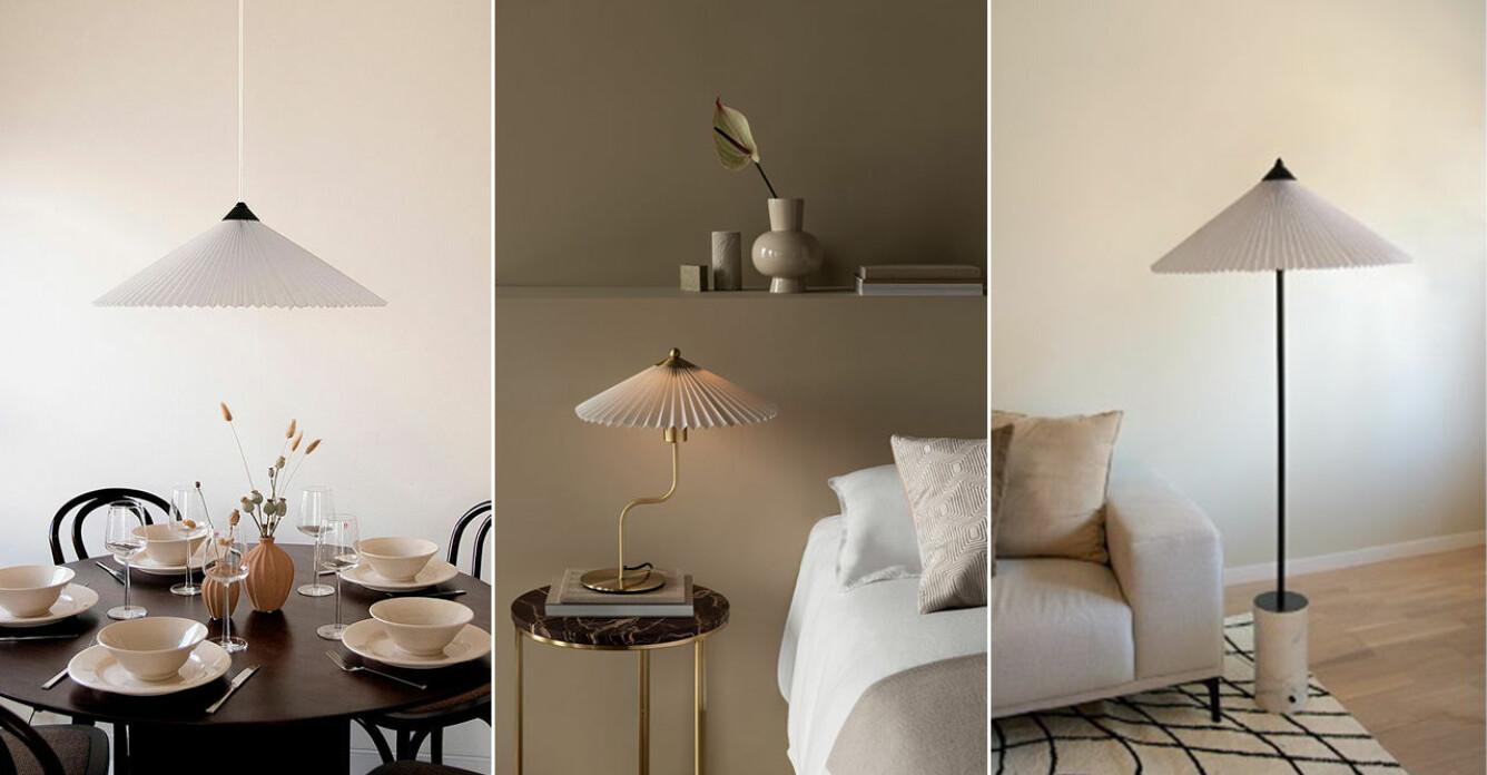 Lampor med plisserad skärm