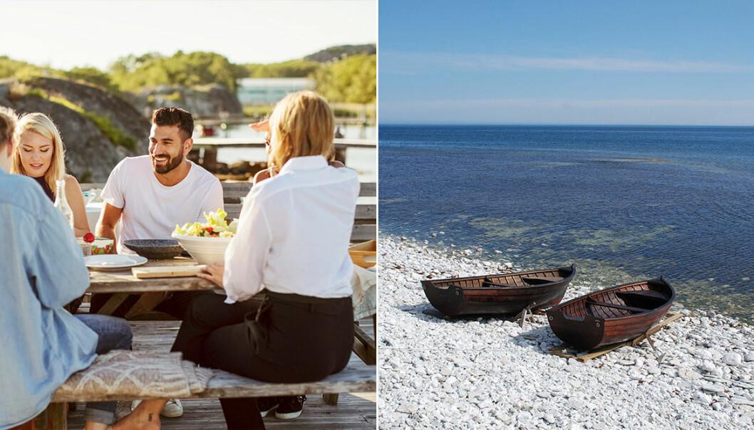 Umgås över middag och två roddbåtar ligger vid strandkanten.