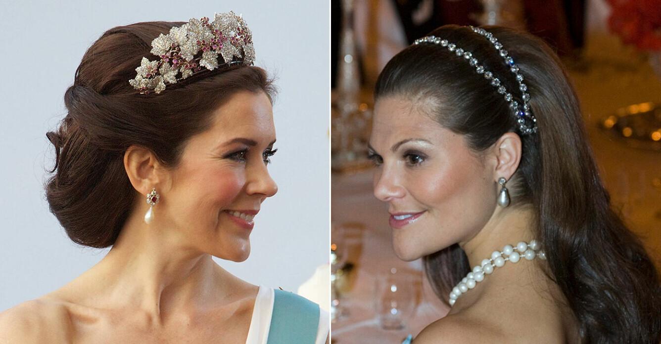 Kronprinsessan Mary och kronprinsessan Victoria med fina håruppsättningar.