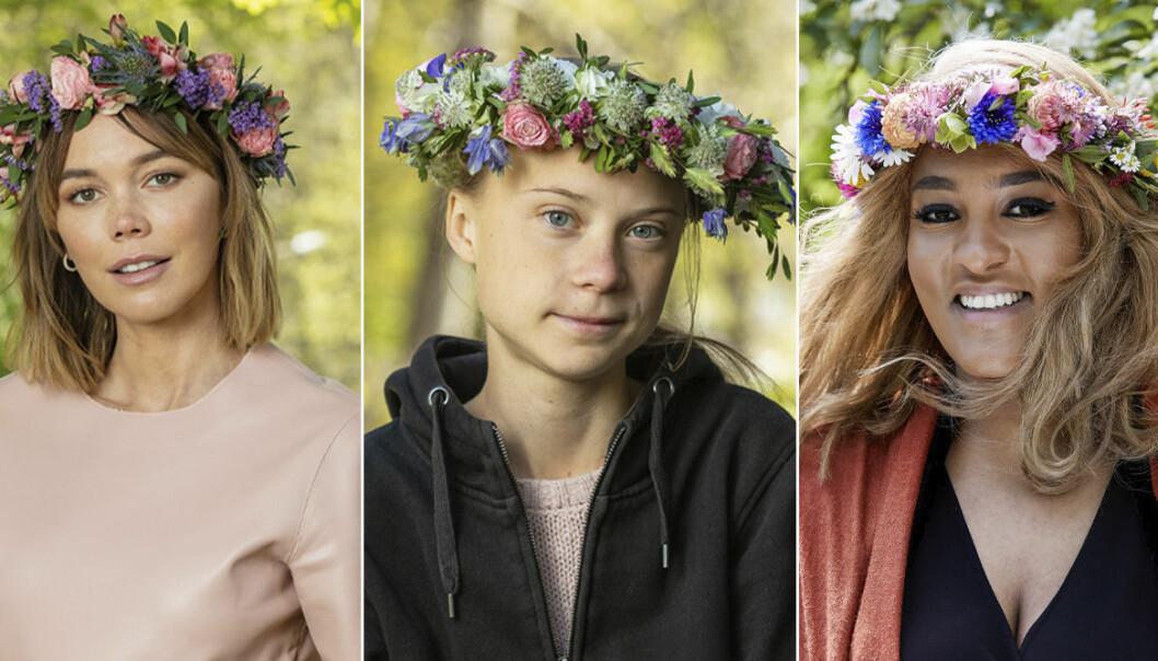 hedda stiernstedt, greta Thunberg och Betlehem Isaak med blomsterkransar i håret
