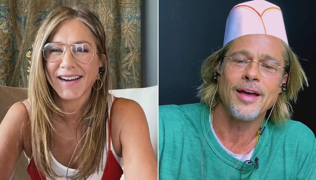 Jennifer Aniston och Brad Pitt flörtar på tv.