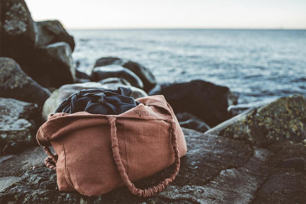 Rostfärgad väska i linne från Ellos x Krickelin
