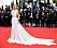 Elsa Hosk i en klänning med regnbågsfärger från Etro i Cannes 2019