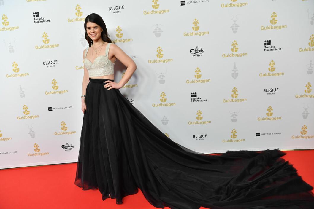 Emma Molin på röda mattan på Guldbaggegalan