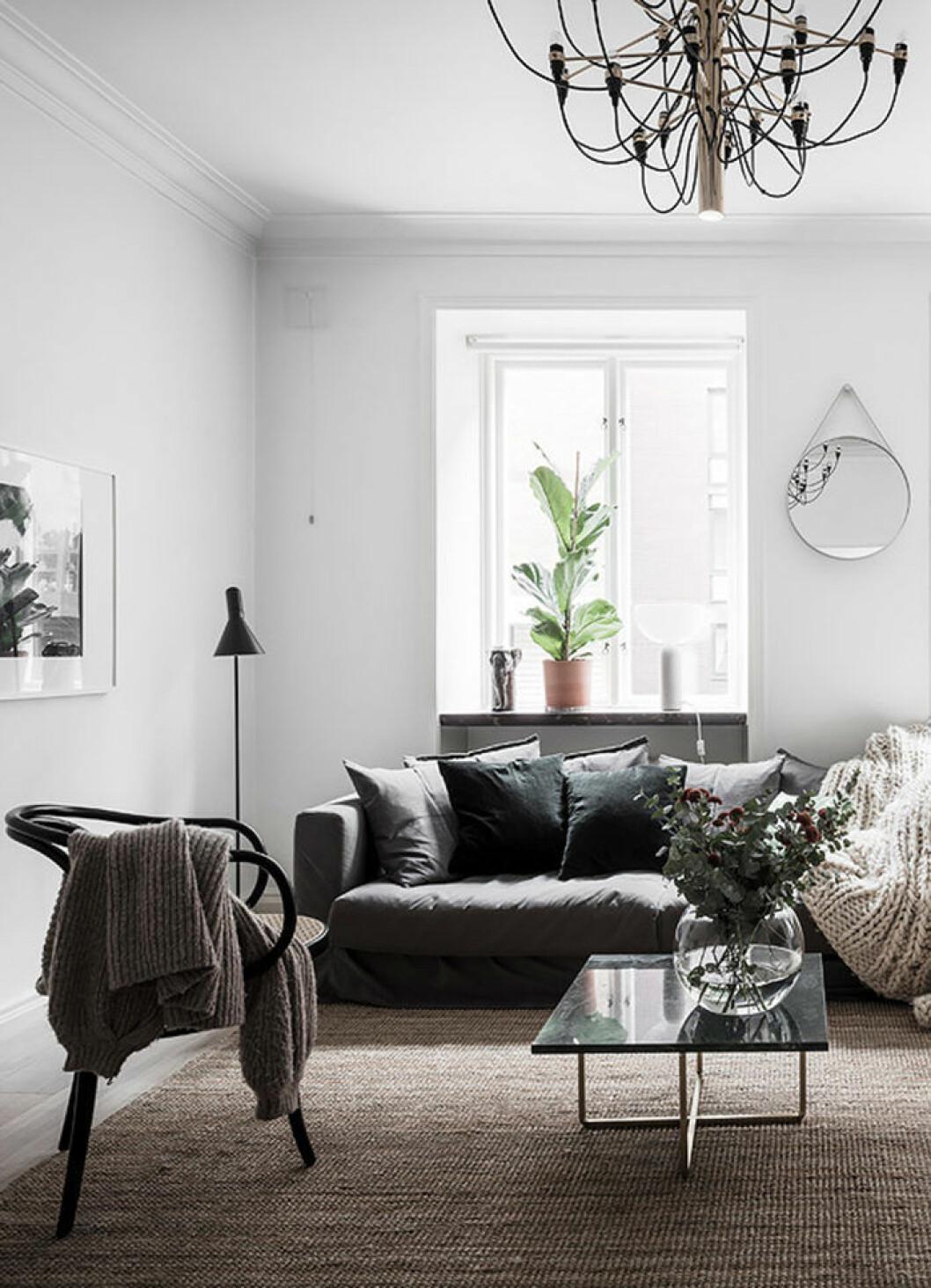 Mörk soffa med mörka kuddar