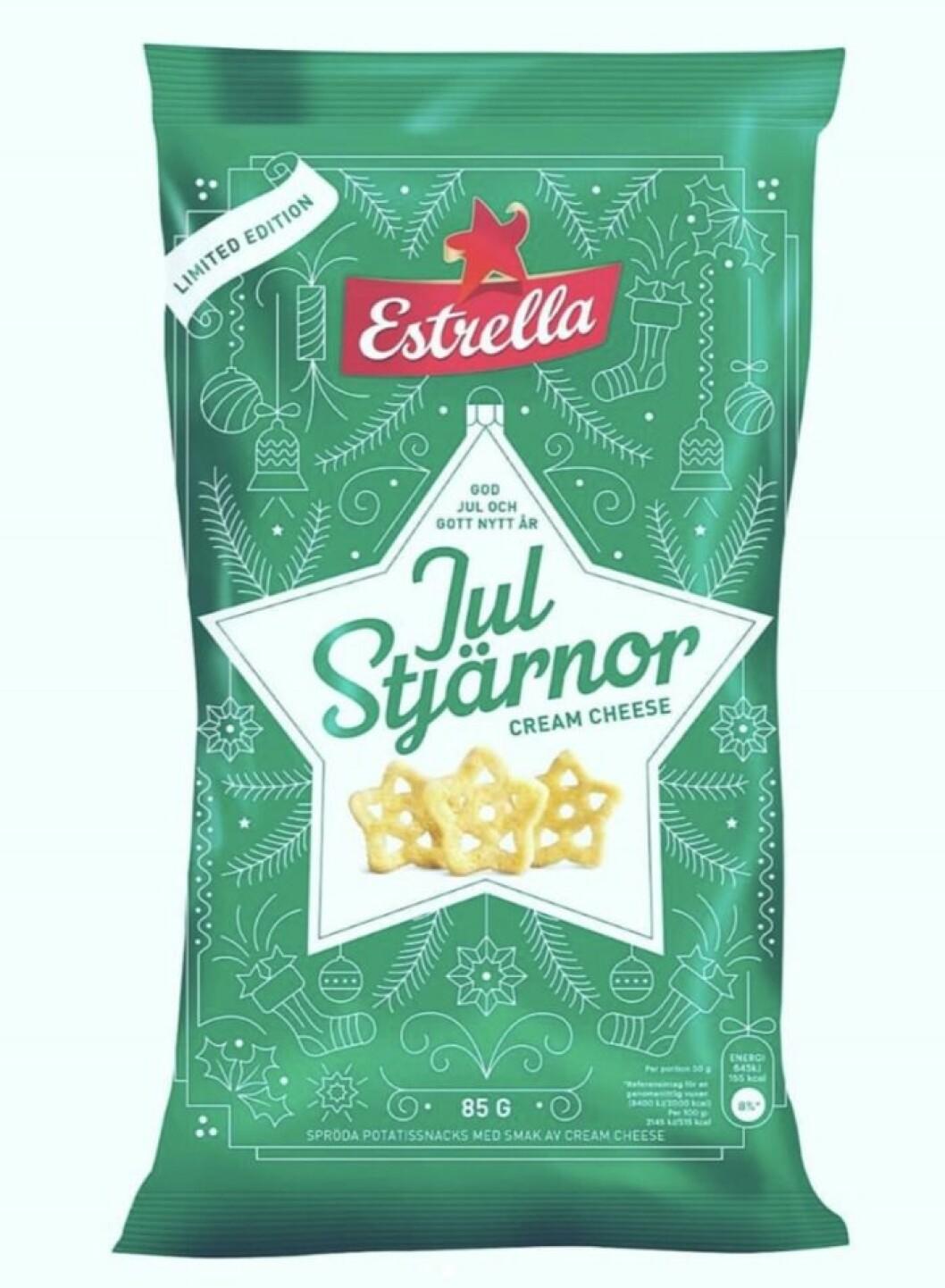 grön chipspåse med julstjärnor