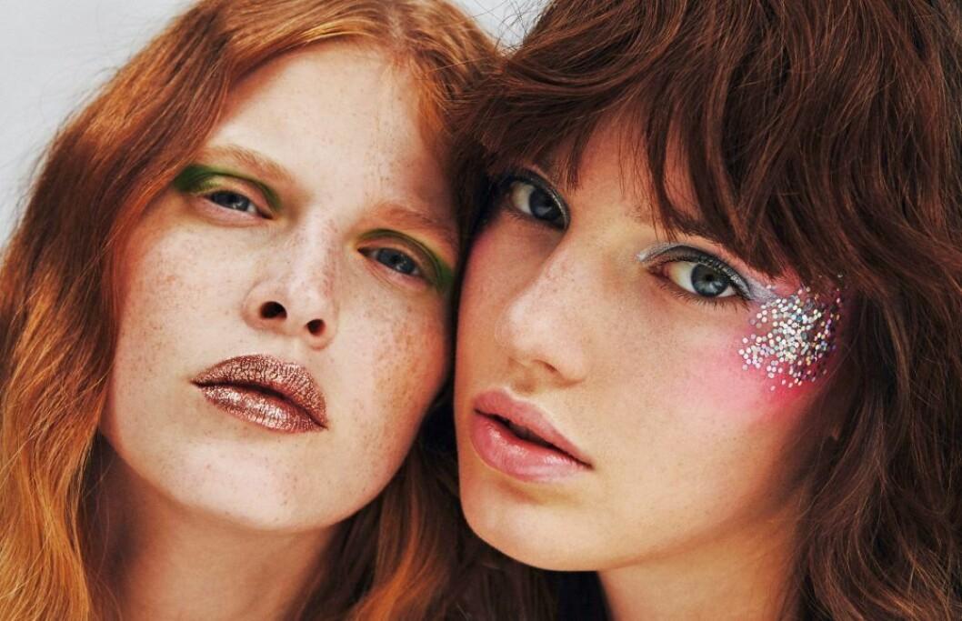 Euphoria-sminkning, glittrig ögonskugga brun och pastell
