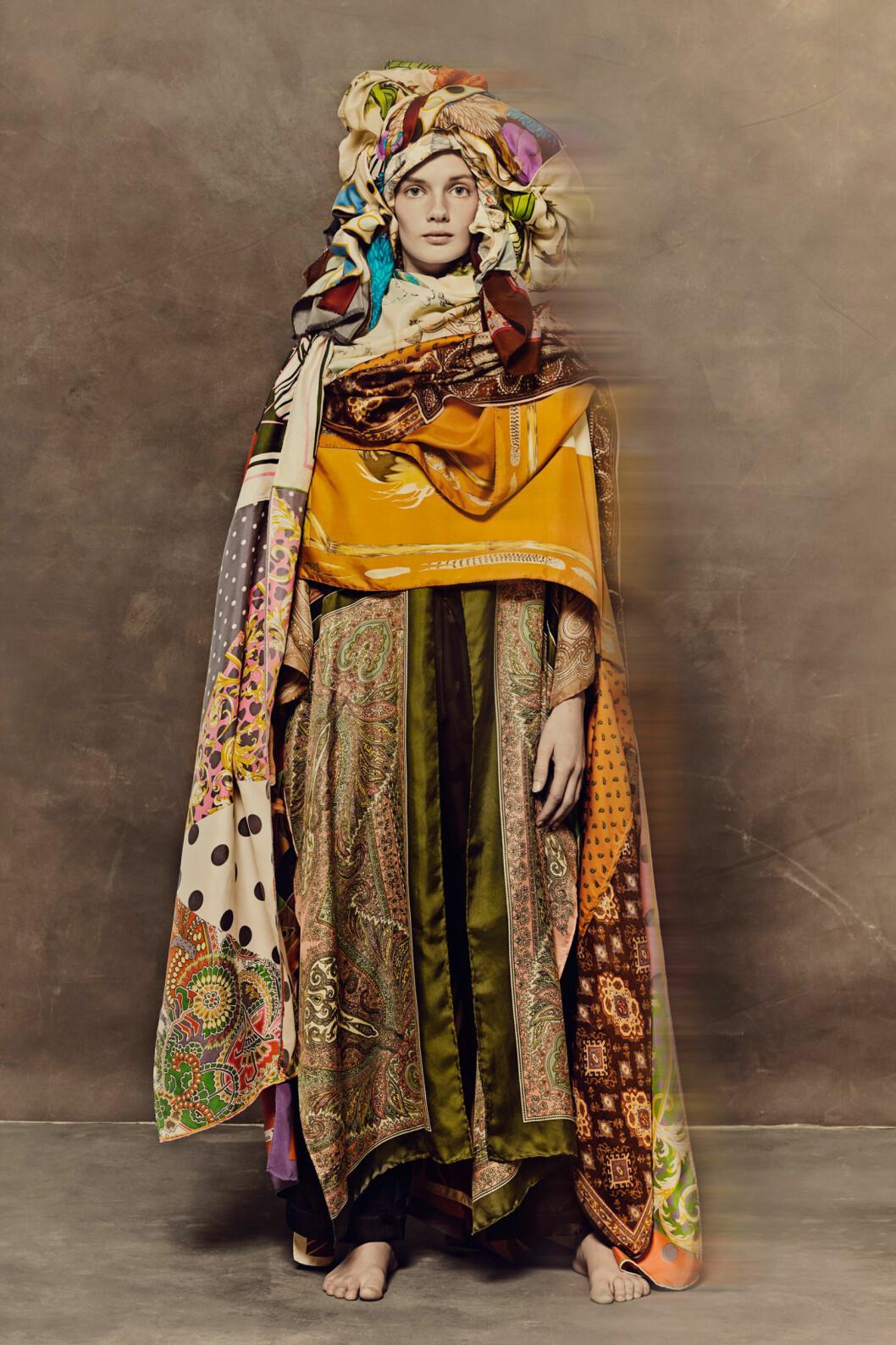 Ewa Larssons kimono gjord av vintagescarves