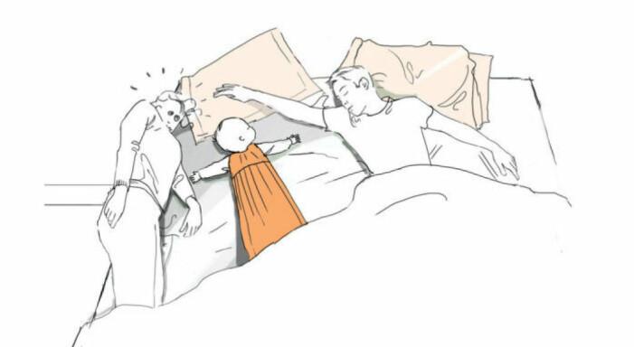 Familj som trängs i sängen varav en förälder ligger trångt på kanten