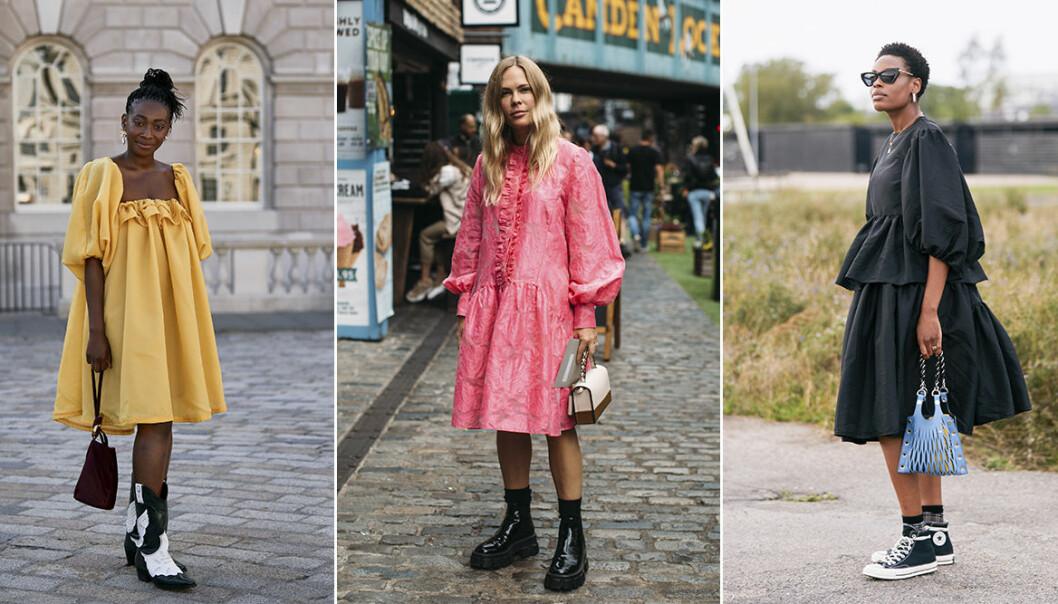 Färgglada klänningar med puffärm 2020