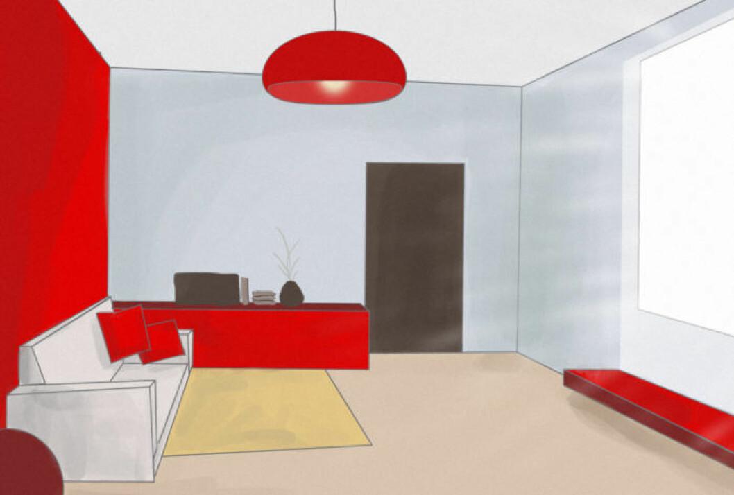Skiss på ett vardagsrum med ojämn färgfördelning