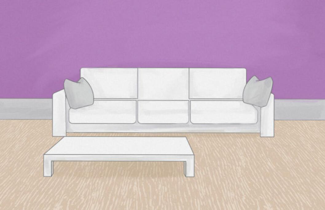 Skiss över vardagsrum med mycket golvyta