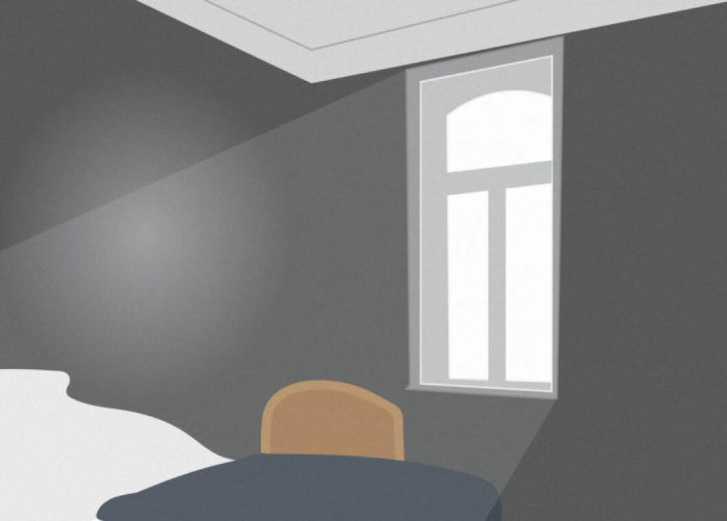 Skiss på rum med ljusinsläpp