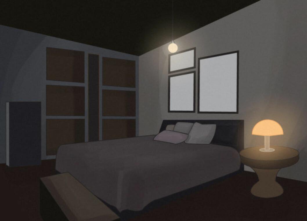 Skiss över ett sovrum som är mörkt