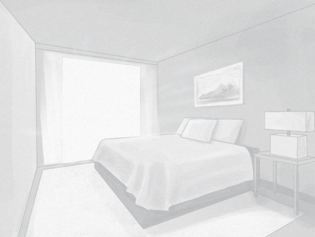 Skiss över ett sovrum med mycket ljusinsläpp