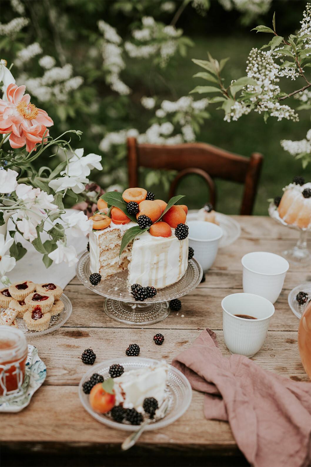 Festmiddag utomhus på sommaren med tårtfat