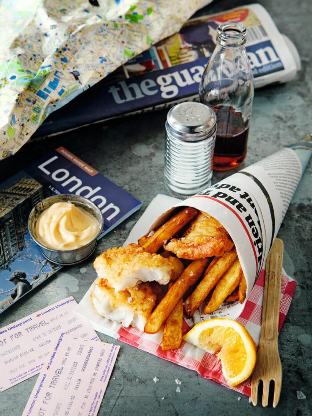 Fish'n'chips med majonnäs och maltvinäger.