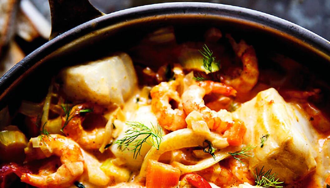 Fisk- och skaldjursgryta med curry.