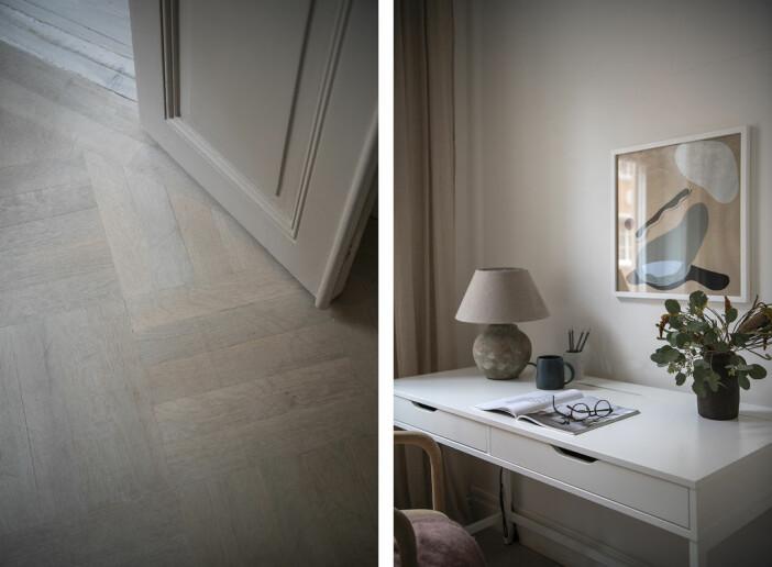 Fiskbensparkett i Angelica Blicks lägenhet på Mosebacke på Södermalm