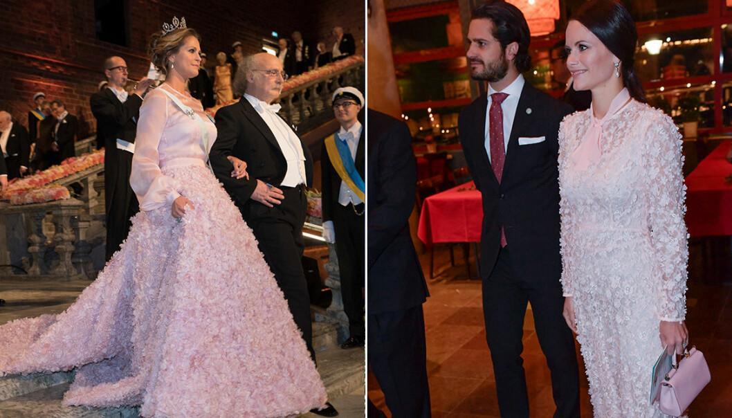 Madeleine och Sofia i rosa klänningar