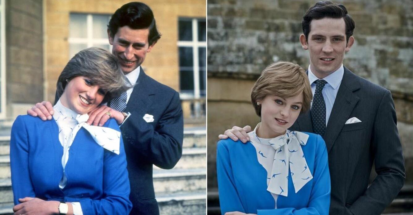 Diana och Charles förlovningsbild samt den återskapade bilden i The Crown säsong 4