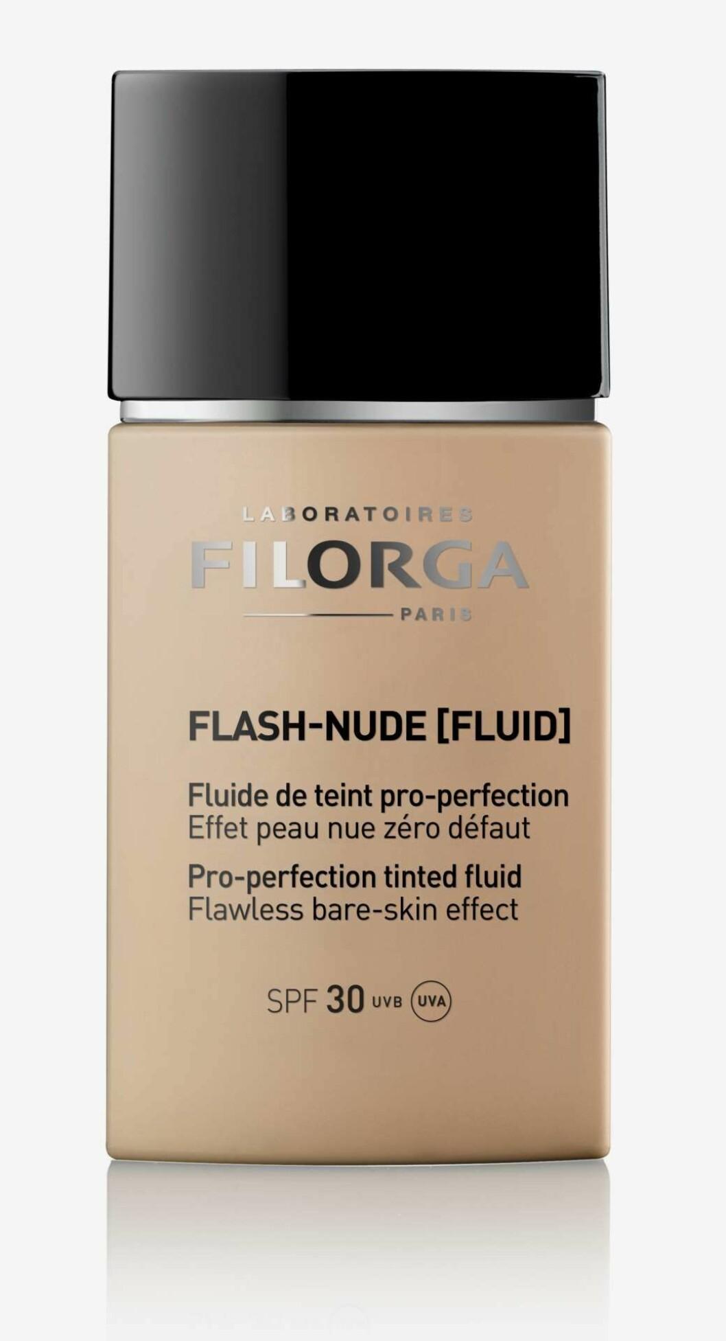 Foundation med spf 30 som skyddar mot UVA och UVB strålar och föroreningar från Filorga.