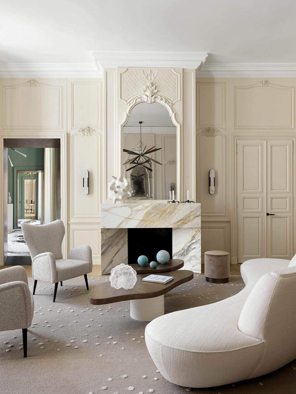Vardagsrum i Paris, hemma hos Damien Langlois-Meurinne
