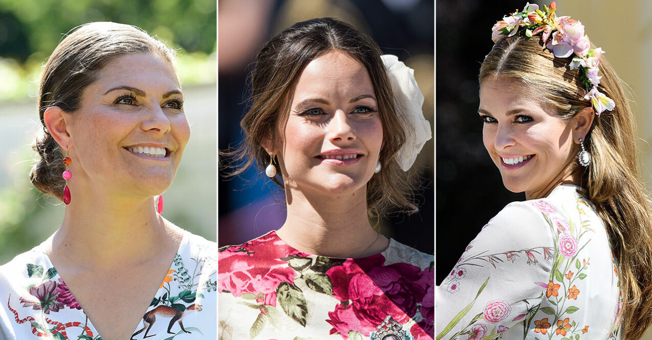 Kronprinsessan Victoria, prinsessan Sofia och prinsessan Madeleine. Fina sommarfrisyrer att inspireras av.