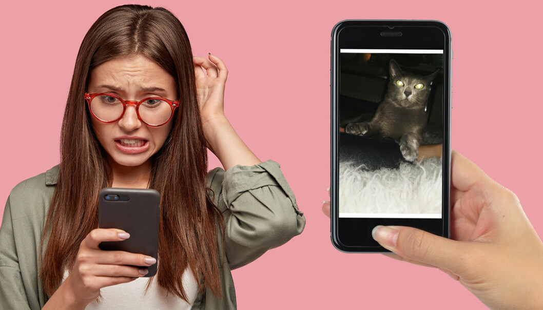 En kvinna som har tagit en ful mobilbild av sin katt.