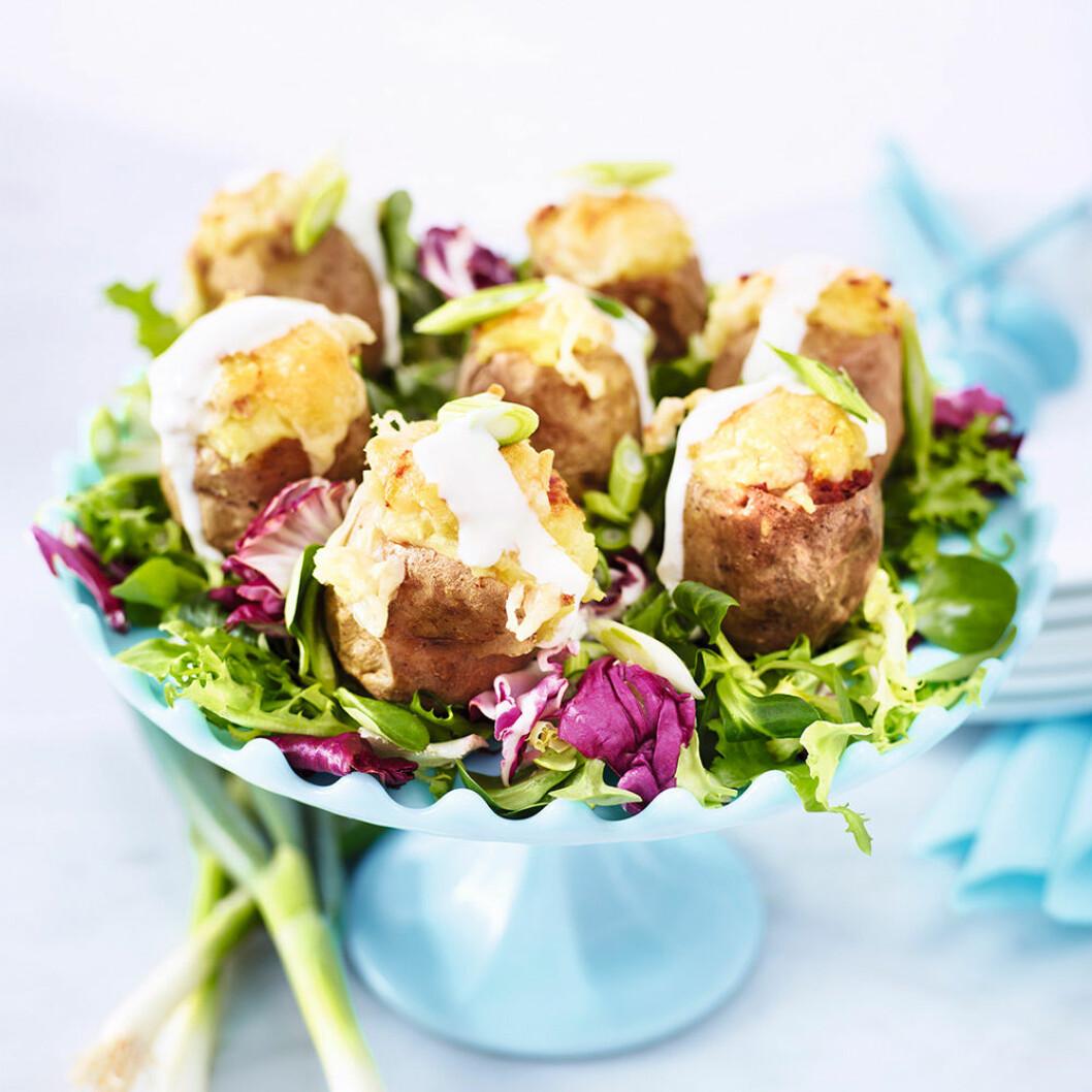 Fyllda småpotatisar med parmesan och vitlökssås.