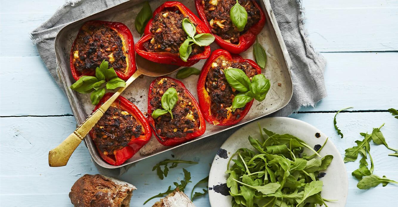 Recept på fyllda paprikor med soltorkad tomat och feta